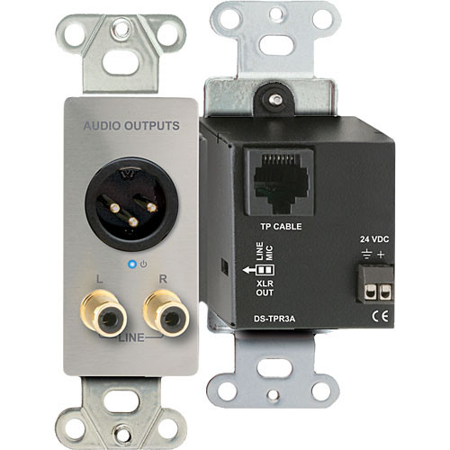 RDL DS-TPR3A Active Triple Pair XLR and RCA Stereo Audio Output over RJ45 Receiver Module (Silver)