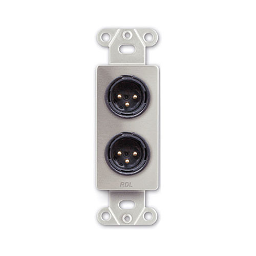 RDL DS-XLR2M Decora Wall Plate with Dual XLR Male Connectors (Stainless Steel)