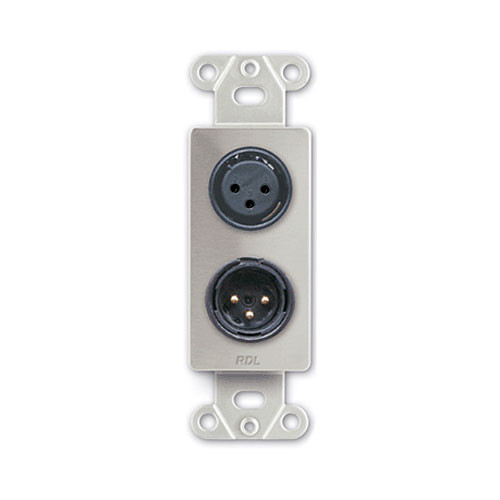 RDL DS-XLR2 Decora Wall Plate with XLR 3-Pin Female & 3-Pin Male Connectors (Stainless Steel)