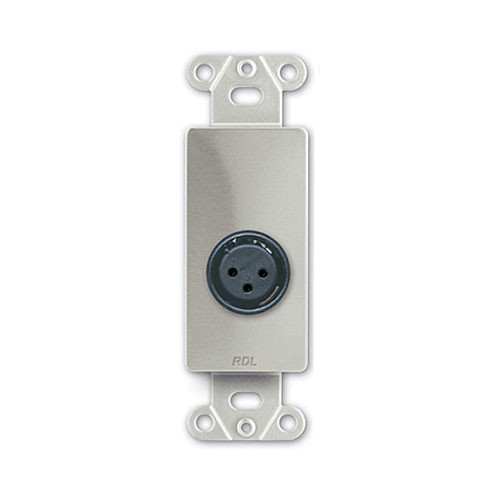 RDL DS-XLR3F Decora Wall Plate with XLR 3-Pin Female Connector (Stainless Steel)