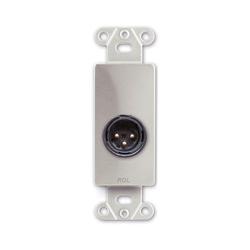 RDL DS-XLR3M Decora Wall Plate with 3-Pin XLR Male Connector (Stainless Steel)