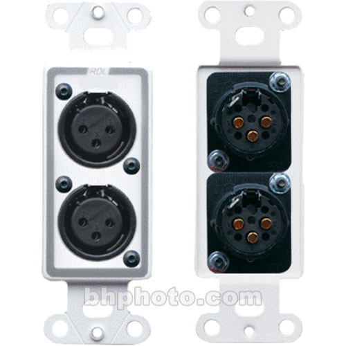 RDL D-XLR2F Decora Wall Plate with Dual XLR 3-Pin Female Connectors (White)