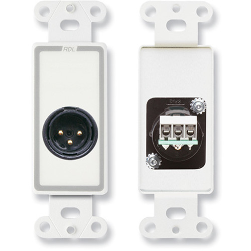 RDL D-XLR3M Decora Wall Plate with XLR 3-Pin Male Connector (White)