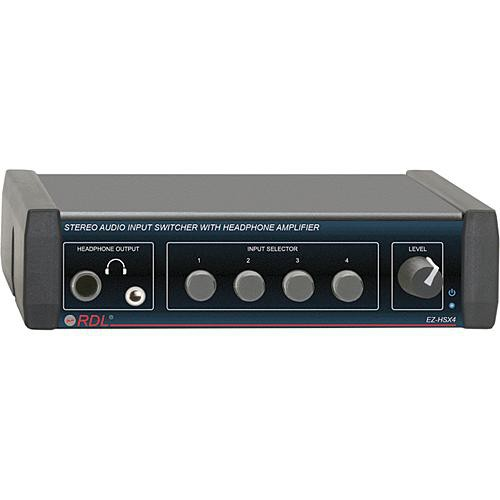 RDL EZ-HSX4 4-Channel Audio Switcher with Headphone Amp