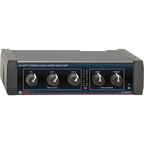 RDL EZ-MXA20 20-Watt Stereo Audio Mixer and Amplifier (USA Power Supply)