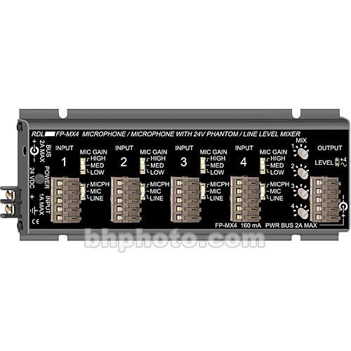 RDL FP-MX4 Four-Channel Microphone and Line Audio Mixer