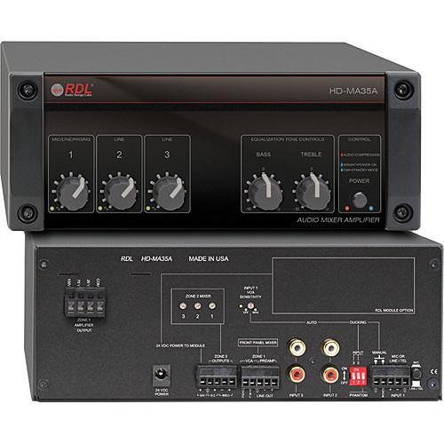 RDL HD-MA 35A 35 Watt Mixer Amplifier with Power Supply