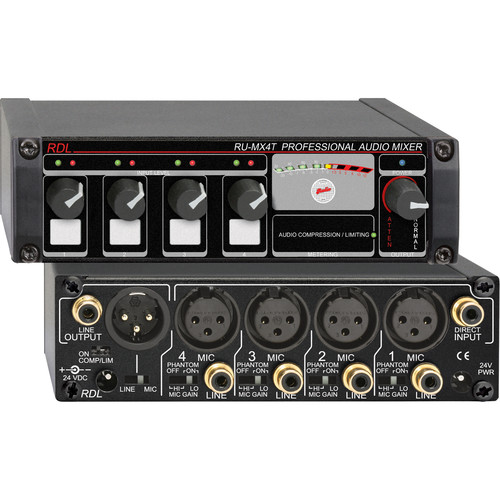 RDL RU-MX4T 4-Channel Mic/Line Mixer with Output Isolation Transformer