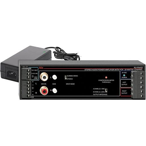 RDL RU-PA40D 40W Stereo Audio Amplifier with USA Power Supply