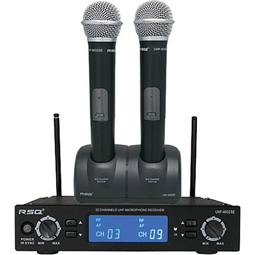 RSQ Audio UHF-6032SE Dual Rechargeable 32-Channel UHF Microphone System