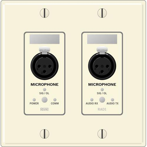 Rane RAD 1 2 Gang Wall Plate with 2 Microphone Inputs (Ivory)