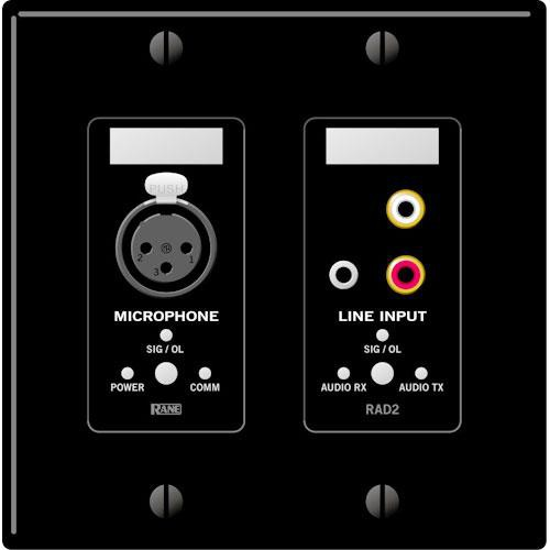 Rane RAD 2 2 Gang Wall Plate with 1 Microphone and 1 Line Input (Black)