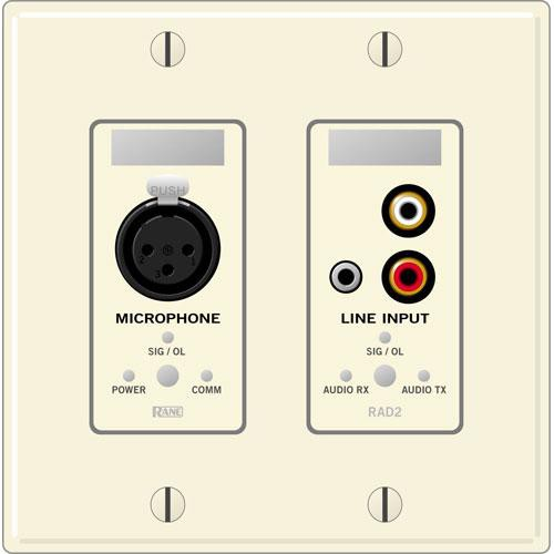 Rane RAD 2 2 Gang Wall Plate with 1 Microphone and 1 Line Input (Ivory)