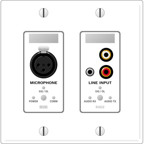 Rane RAD 2 2 Gang Wall Plate with 1 Microphone and 1 Line Input (White)