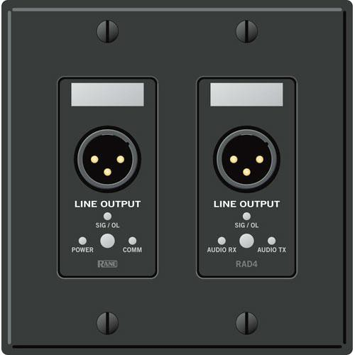 Rane RAD 4 2 Gang Wall Plate with 2 Line Outputs (Black)