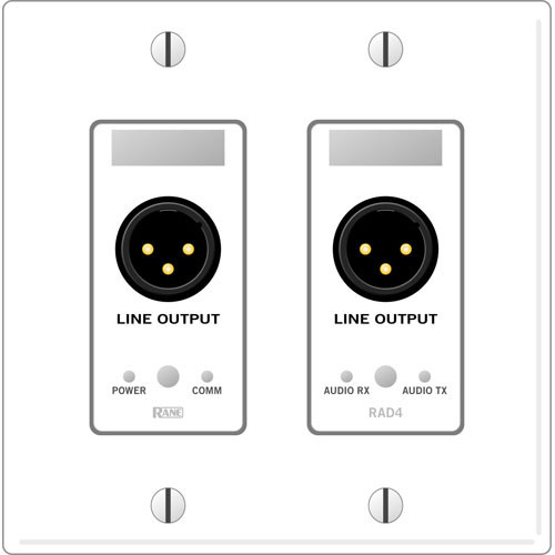 Rane RAD 4 2 Gang Wall Plate with 2 Line Outputs (White)