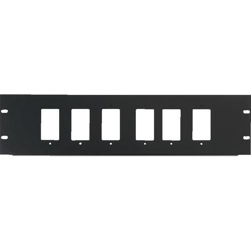 Raxxess 3U Six Decora Device Rack Panel