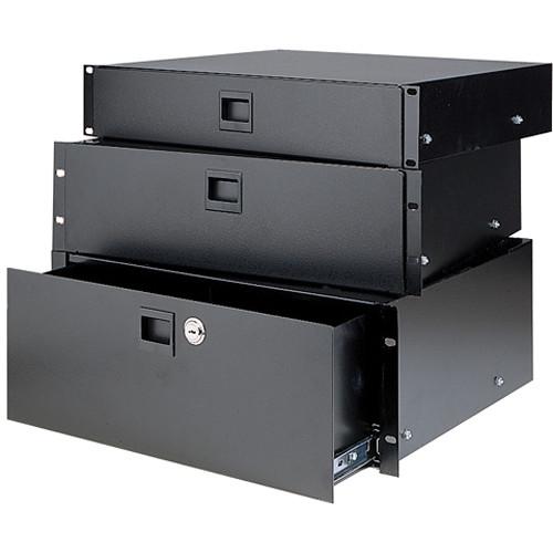 Raxxess Fine Sliding Rack Drawer with Locking Latch (2 RU, Black)