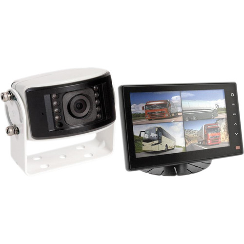 Rear View Safety RVS-1213 Camera System One Camera Setup with Flushmount Quad View Monitor