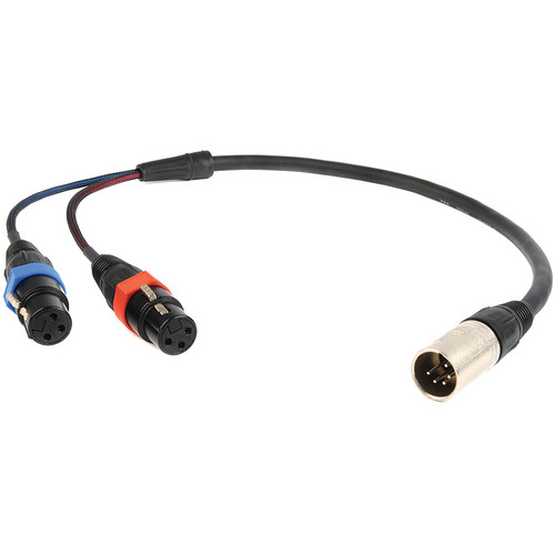 "Remote Audio CAXSTEX5M 5-Pin XLR Male to Dual 3-Pin XLR Female Stereo Cable (18"")"