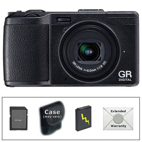Ricoh GR DIGITAL IV Digital Camera (Black) with Deluxe Accessory Kit