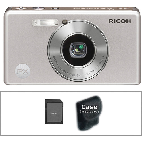 Ricoh PX Digital Camera with Basic Accessory Kit (Silver)