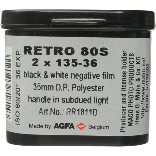 Rollei Retro 80S Black and White Negative Film (35mm Roll Film, 36 Exposures, 2 Pack)