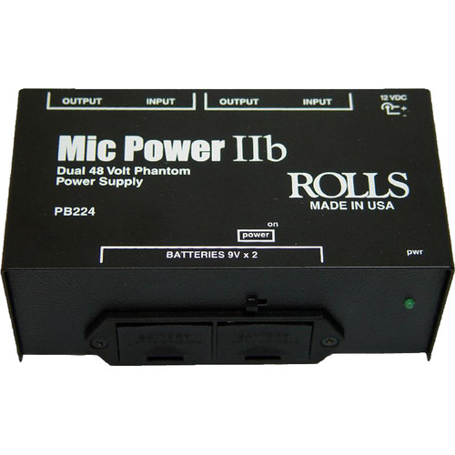 Rolls PB224 - 2-Channel Portable Battery Operated Phantom Power Supply