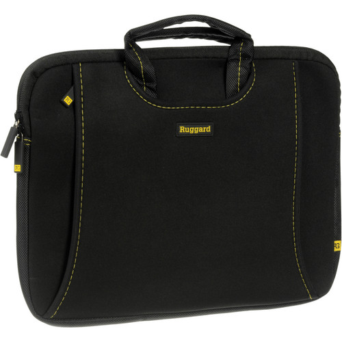 "Ruggard 13"" Ultra Thin Laptop Sleeve with Handles (Black/Yellow)"