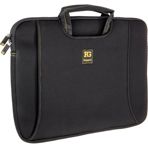 "Ruggard 15"" Ultra Thin Laptop Sleeve with Handles (Black/Yellow)"