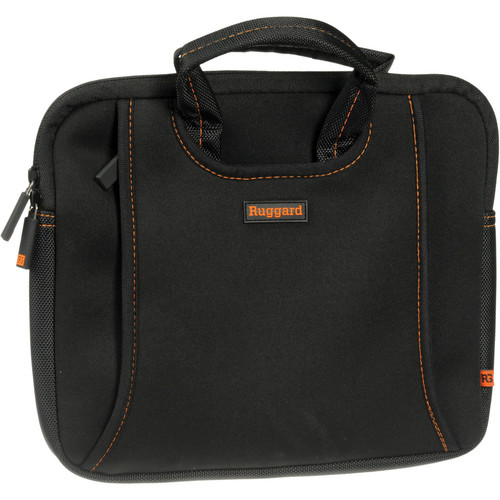 "Ruggard 10"" Ultra Thin Netbook Sleeve With Handles (Black/Orange)"