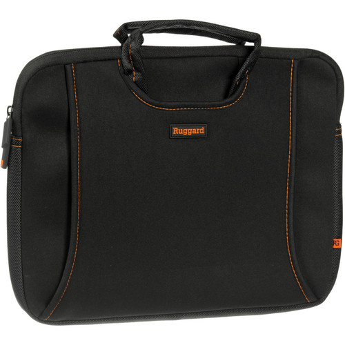 "Ruggard 13"" Ultra Thin Laptop Sleeve with Handles (Black/Orange)"