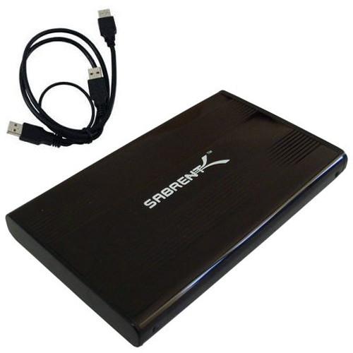 """Sabrent USB 2.0 to 2.5"""" IDE Aluminum Hard Drive Enclosure (Black)"""