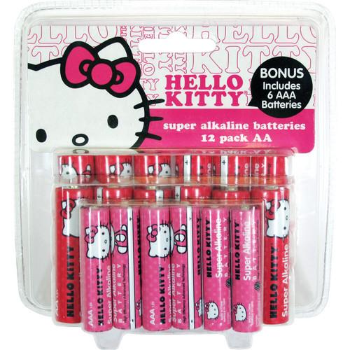 Sakar Hello Kitty Super AA / AAA Alkaline Batteries (1.5V) - 12 AA, 6 AAA
