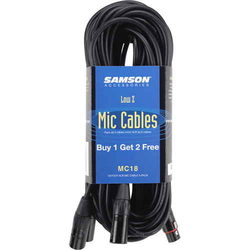 Samson 3-Pin XLR Male to XLR Female Microphone Cable (3-Pack) - 18'