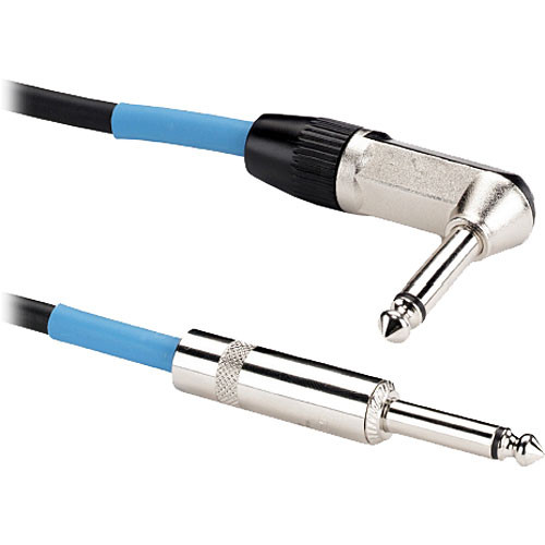 "Samson 1/4"" Male to 1/4"" Right-Angle Male Instrument Cable - 10'"