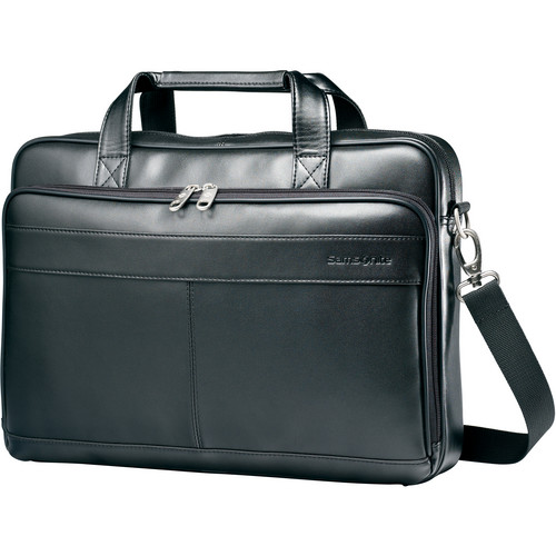 "Samsonite Leather Slim Brief with 15.6"" Laptop Pocket (Black)"