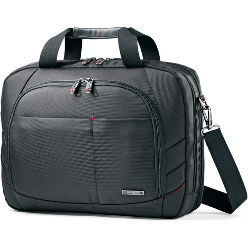 "Samsonite Xenon 2 Two Gusset Toploader Shoulder Bag with 15.6"" Laptop Pocket (Black)"