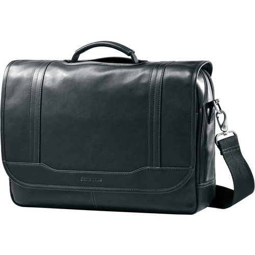 "Samsonite Colombian Leather Flapover Briefcase with 15.6"" Laptop Pocket (Black)"