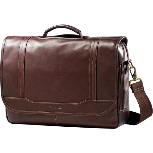 "Samsonite Colombian Leather Flapover Briefcase with 15.6"" Laptop Pocket (Brown)"