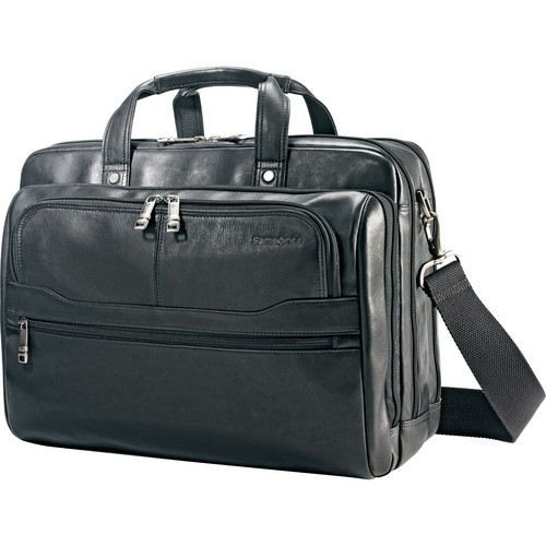 "Samsonite Colombian Leather 2 Pocket Business Case with 15.6"" Laptop Pocket (Black)"