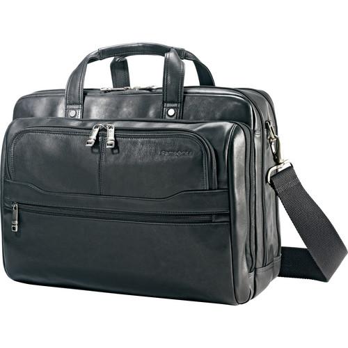"Samsonite Colombian Leather 2 Pocket Business Case with 15.6"" Laptop Pocket (Black)"