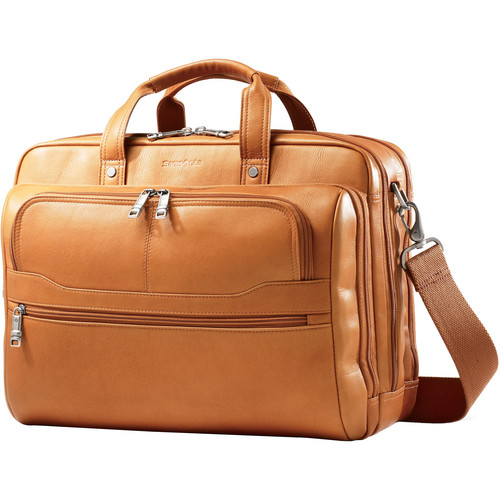 "Samsonite Colombian Leather 2 Pocket Business Case with 15.6"" Laptop Pocket (Tan)"