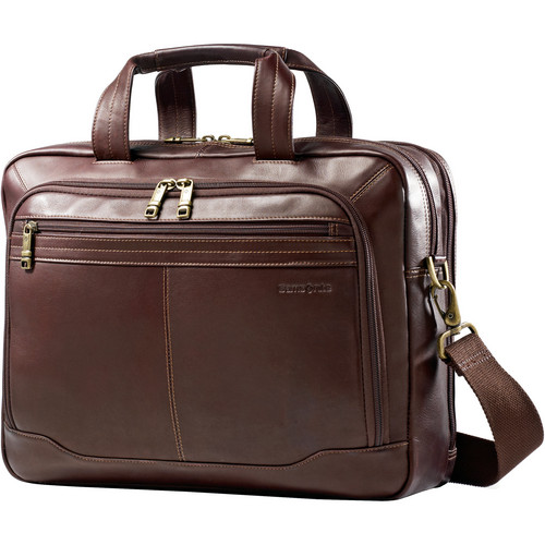 "Samsonite Colombian Leather Toploader Business Case with 15.6"" Laptop Pocket (Brown)"