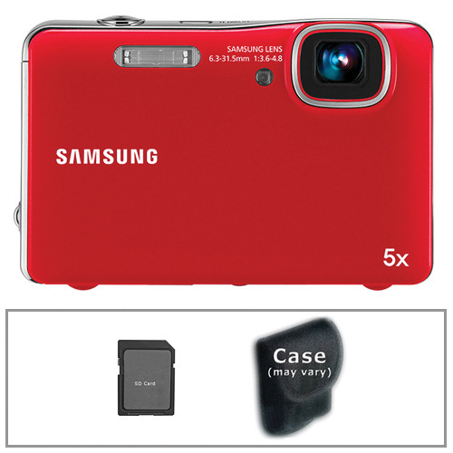 Samsung AQ100 Digital Point & Shoot Camera with Basic Accessory Kit (Red)
