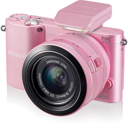 Samsung NX1000 Mirrorless Wi-Fi Digital Camera with 20-50mm Lens (Pink)