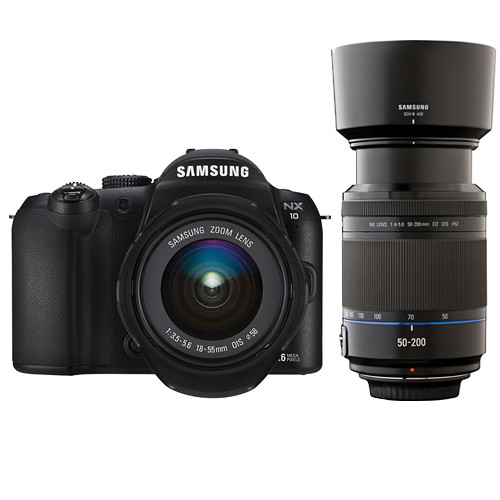 Samsung NX-10 Digital Camera with 18-55mm & 50-200mm Lenses