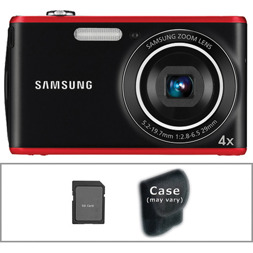 Samsung PL90 Digital Camera with Basic Accessory Kit (Red)