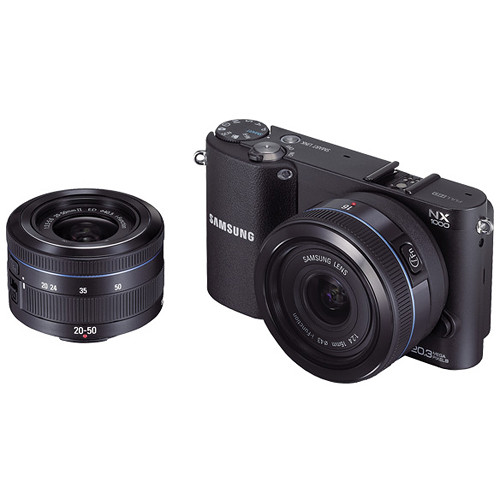 Samsung NX1000 Mirrorless Wi-Fi Digital Camera with 20-50mm and 16mm Lenses (Black)