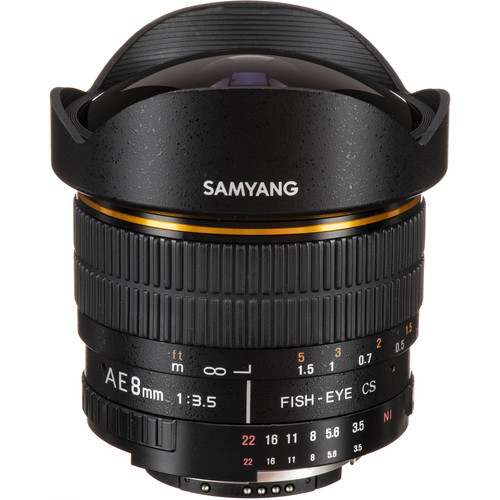 Samyang 8mm Ultra Wide Angle f/3.5 Fisheye Lens for Nikon w/Focus Confirm Chip